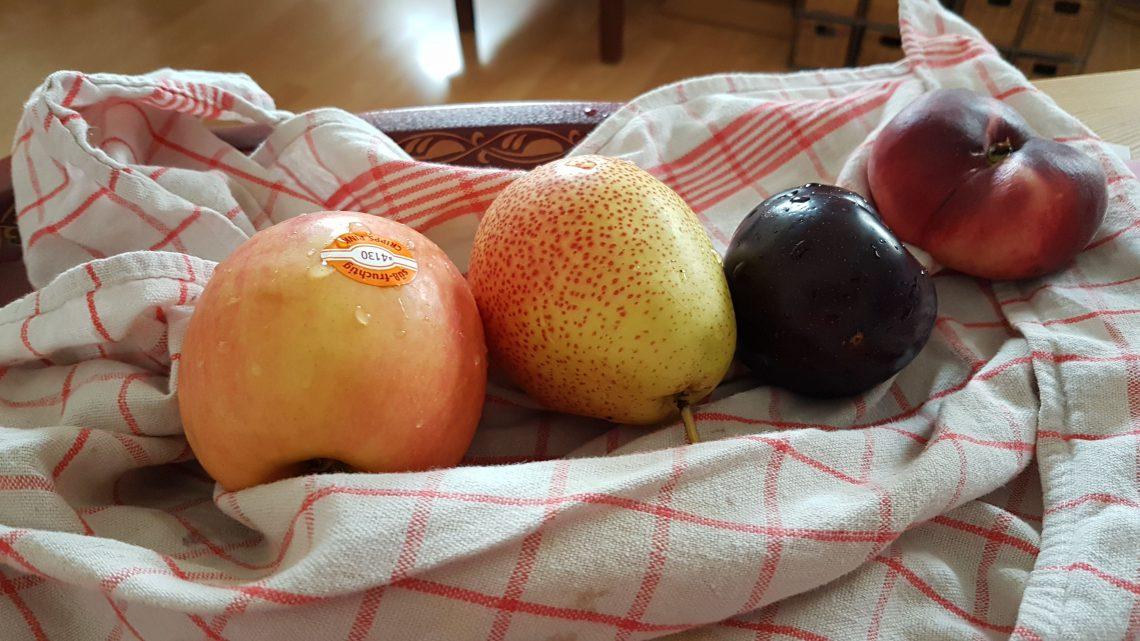 Auf dem Foto sieht man einen Apfel, eine Birne, eine Pflaume und eine Nektarine auf einem Küchentuch